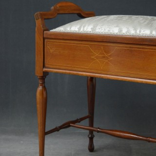 Edwardian Mahogany and Inlaid Stool