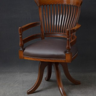 Turn of the Century Revolving Desk Chair in Mahogany