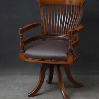 Turn of the Century Revolving Desk Chair in Mahogany