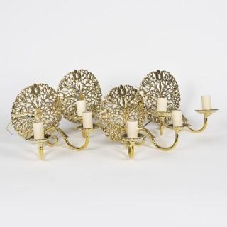 set of 4 brass wall lights, circa 1925.