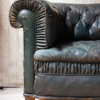 A Pair of Victorian Green Leather Button-Back Upholstered Club Armchairs c.1895