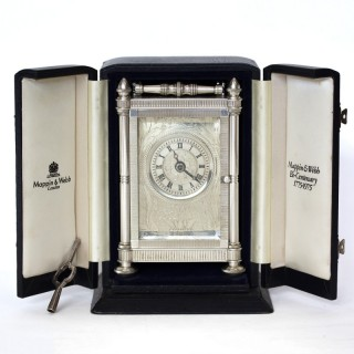 Solid silver Carriage Clock, Mappin & Webb