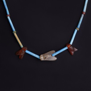 Egyptian Necklace with Blue Faience and Carnelian Fly Amulets