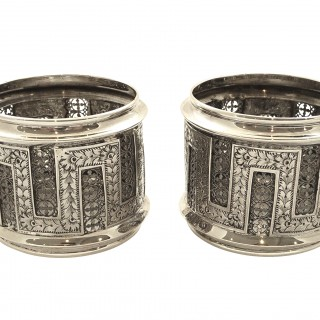 Pair of Antique Victorian Sterling Silver Filigree Napkin Rings in Case 1890