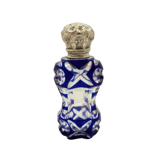 Antique Silver & Blue Overlay Glass Perfume / Scent Bottle c1890