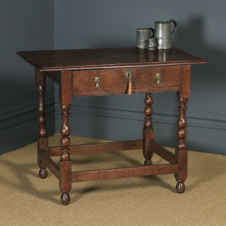 Antique English Georgian Oak Occasional Hall Writing Lowboy Side Table (Circa 1740)
