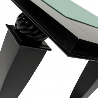 A FRENCH BLACK LACQUERED OCCASIONAL TABLE