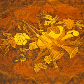 Pair of Victorian Marquetry Burr Walnut Etageres
