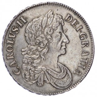CHARLES II (1660-85), 1672 CROWN, THIRD DRAPED BUST