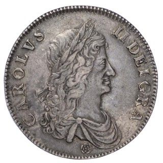 CHARLES II (1660-85), CROWN, 1662, FIRST BUST, ROSE BELOW