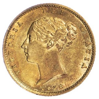 VICTORIA (1837-1901), 1858, HALF SOVEREIGN
