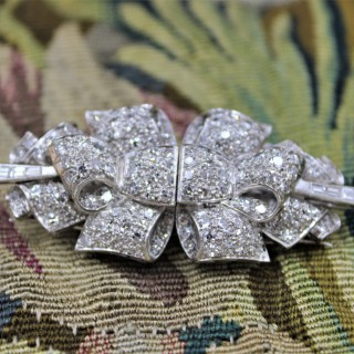 Platinum Diamond Double Clip Bow Brooch, English, Circa 1930