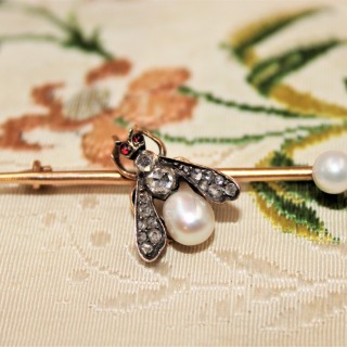 A Natural Pearl, Diamond and Ruby Fly Brooch, Russian, Circa 1890