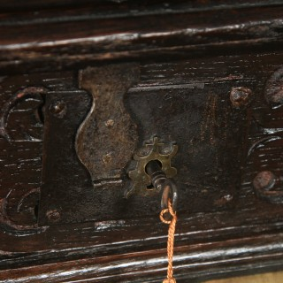 Antique English 18th Century Solid Oak Carved Writing / Bible Box  (Circa 1700)