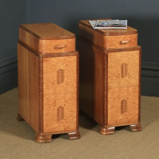 Antique English Pair of Art Deco Burr Walnut Bedside Chests / Tables (Circa 1930)