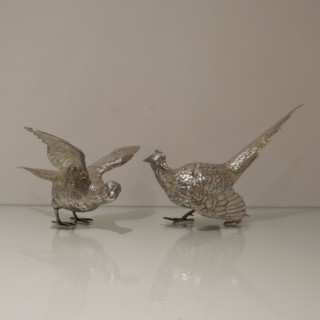 20th Century Modern Sterling Silver Pair of Large Pheasants London 1976 Mappin & Webb
