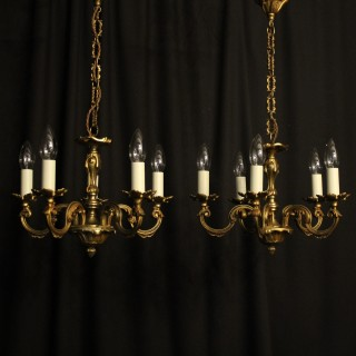 French Pair Of Gilded 5 Light Antique Chandeliers