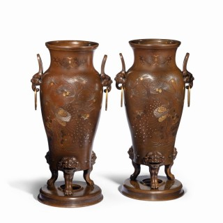 A pair of large Meiji period bronze vases