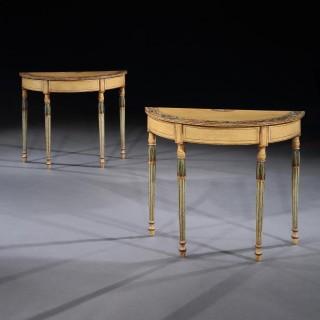 Fine Pair Of Georgian Painted Demi-Lune Pier Tables