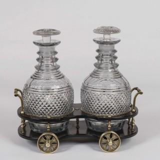 A Regency Papier-Mâché & Glass Decanter Wagon