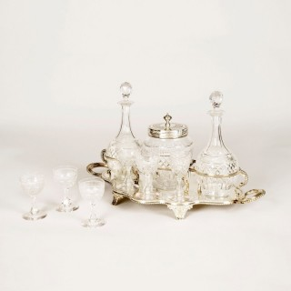 A Glass & Silver Plate Drinks Suite