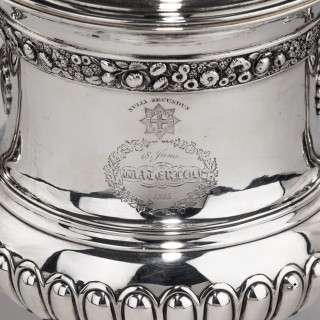 A George III antique silver Battle of Waterloo Commemorative cup and cover belonging to William Hunter, by Mitchell & Russell, Edinburgh 1818