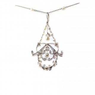 Natural Pearl & Diamond Pendant