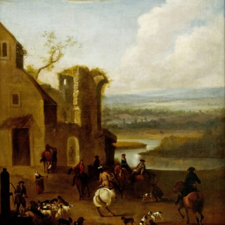 A Hunting Party with an Architectural Capriccio