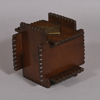 Antique Treen 19th Century Folk Art Mahogany Money Box