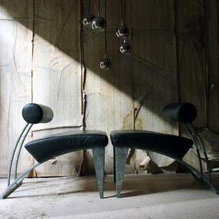 A Pair of Italian Modernist Galvanised Steel & Leather Lounge Chairs c.1980-90