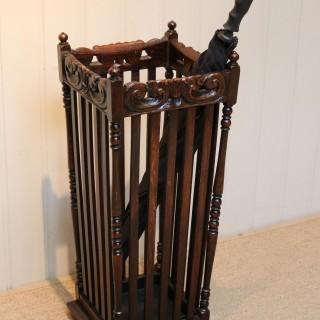 Carved Oak Stick/Umbrella Stand