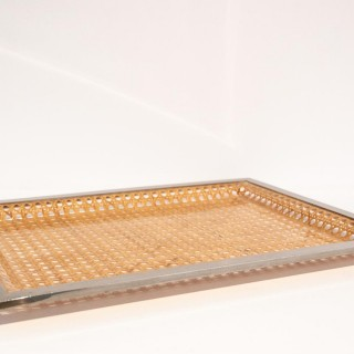 Christian Dior Style Lucite And Cane Tray With Silver Plated Edging