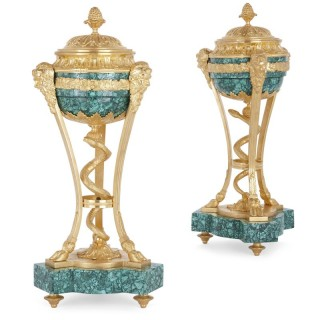 Pair of Louis XVI style gilt bronze and malachite lidded urns