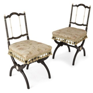 Pair of antique English ivory inlaid ebonised wood chairs