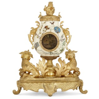 French gilt bronze and faience clock set in the Chinoiserie style