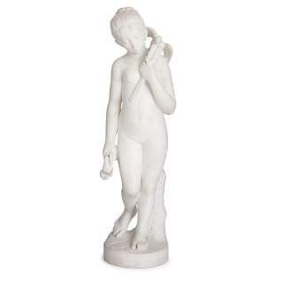 Antique sculpted marble figure of a young girl