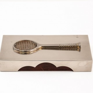 Silver Plated Box With Squash Racquet Motif