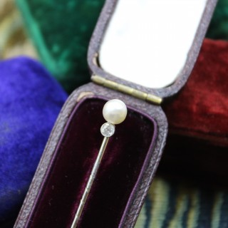A very fine Natural Pearl & Diamond Stick Pin mounted in Platinum,  Austrian, Circa 1910
