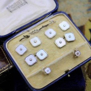 A very fine Mother of Pearl & Diamonds Dress Set in 9ct White Gold, English, Circa 1950
