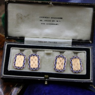 A very fine pair of engraved Blue & Black Chequered Enamel Cufflinks set in 9ct Yellow Gold, Circa 1930