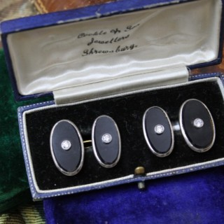 A very fine pair of Black Onyx & Diamond Cufflinks set in 18ct Yellow Gold & Platinum, English, Circa 1950