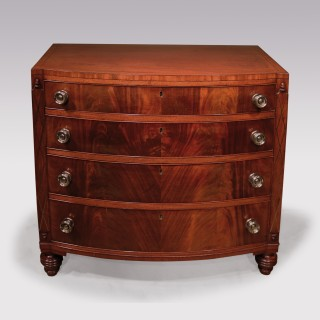 A 19th century bow chest of drawers stamped Gillows