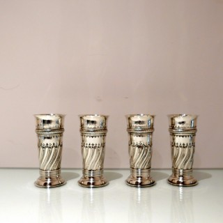Antique Victorian Sterling Silver Set of Four Flower Vases London 1899 Charles Stuart Harris/William Davis