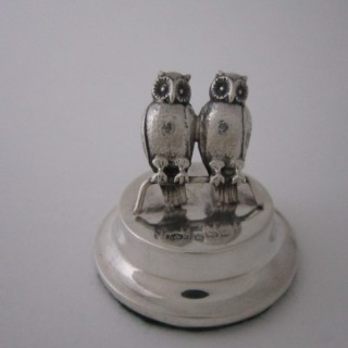 Antique Edwardian Sterling silver owl menu/place card holder