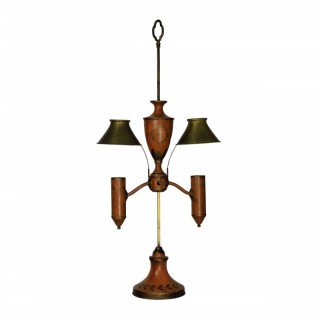 A NAPOLEONIC REVIVAL ORANGE TOLE DESK LAMP