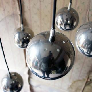 An Italian Five-Tier Cascade Steel Globe Hanging Lamp c.1980