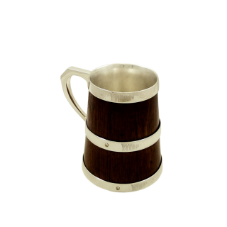 Antique Victorian Silver Plated & Oak Tankard c1880