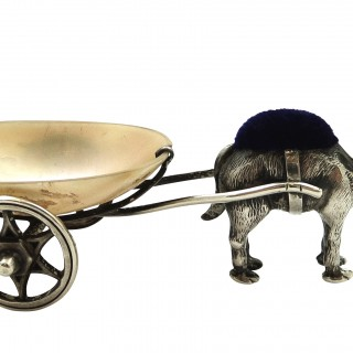 Antique Edwardian Sterling Silver Camel with Cart Pin Cushion 1909