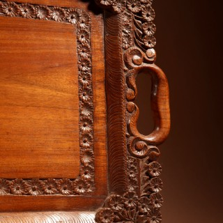 Two Colonial Very Fine Carved Wooden Trays.