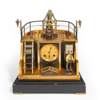 A late 19th century French gilt-brass and steel novelty 'quarterdeck' mantel clock by Guilmet, Paris